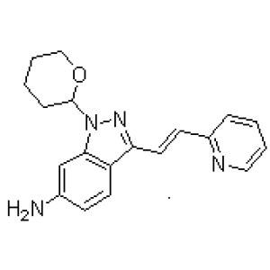 (<em>E</em>)<em>-3-</em>[2-(Pyridin-2-yl)ethenyl]-1-(tetrahydro-2H-pyran-2-yl)-1H-indazol-6-amine  CAS NO.:886230-76-8