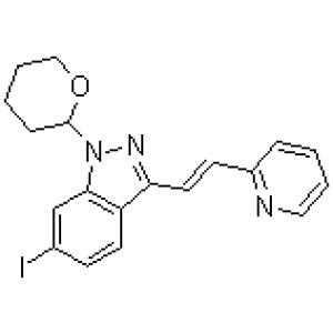 (<em>E</em>)-6-Iodo-3-[2-(pyridin-2-yl)ethenyl]<em>-1-</em>(tetrahydro-2H-pyran-2-yl)-1H-indazole  CAS NO.:886230-77-9