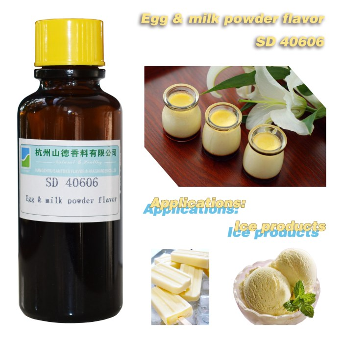 Egg & Milk powder flavor SD 40606 food fragrances for cold drink/Ice cream/ Popsicle