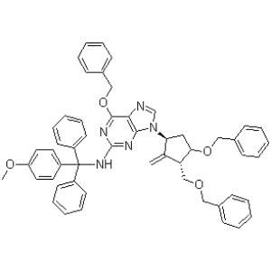 6-(Benzyloxy)-9-((1S,3R,3S)-4-(benzyloxy)-3-(benzyloxymethyl)-2-methylenecyclopentyl)-N-((4-methoxyphenyl)diphenylmethyl)-9H-purin-2-amine