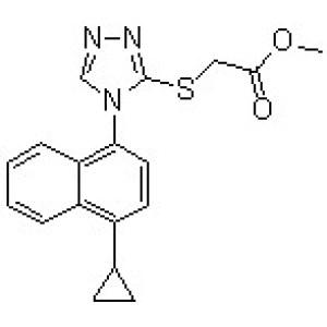 Methyl 2-[[4-(4-cyclopropylnaphthalen-1-yl)-4H-1,<em>2</em>,4-triazol-3-yl]thio]<em>acetate</em>